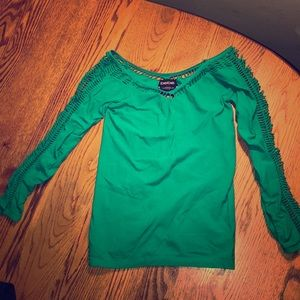 Teal Bebe stretch 3/4 going out top size small